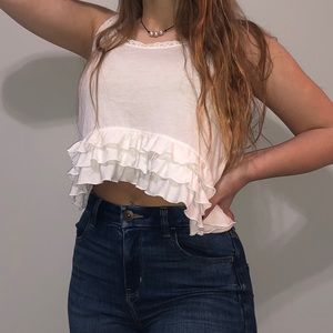 White ruffled cropped tank